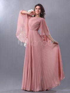 Vestido de noche de gasa rosada con escote redondo - Milanoo.com
