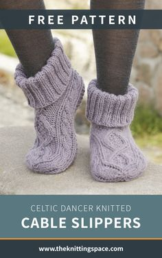 Celtic Dancer Knitted Cable Slippers Craft this pair of cozy knitted cable slippers in time for the autumn and winter seasons. This pattern includes a free t. Fall Knitting Patterns, Easy Knitting, Knitting Socks, Knitting Projects, Knitting Basics, Knit Socks, Knit Slippers Free Pattern, Knitted Slippers, Flats