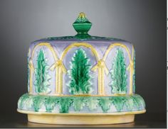 Staffordshire Majolica Cheese Dome and Stand