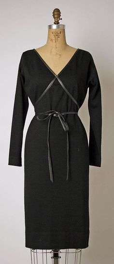 8ec457feeb Bonnie Cashin ~ wool jersey dress bound in leather with ties. Matches check  coat ~