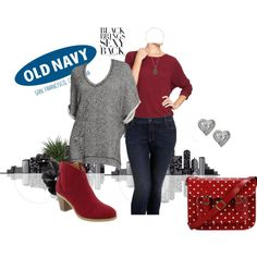 Old Navy Fashion Otoño! Mega Fashion, Old Navy, Bring It On, Polyvore, Red, Gray