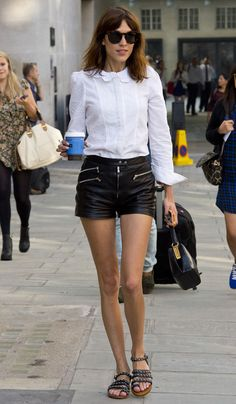 Alexa Chung Perfects the Fall Shorts Look With a Cool-Girl Styling Trick (But Of Course)