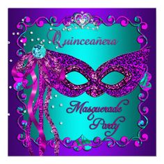 Purple Pink Teal Masquerade Quinceanera Invites invitations Birthday invitations by zizzago.com