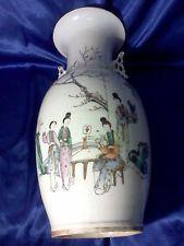 19 C Rare Hand Painted Antique Huge Chinese Porcelain Famille Rose Poem Vase
