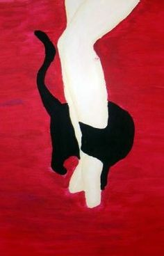 black cat winding around someone's legs against red, Nuno Rodrigues Crazy Cat Lady, Crazy Cats, Illustrations, Illustration Art, She And Her Cat, Image Chat, Photo Chat, Arte Pop, Cats And Kittens