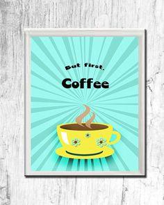 Art print home decor wall decor  Coffee print by OldOwlPress