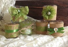 burlap and lace covered green votive candles wedding, bridal shower decoration
