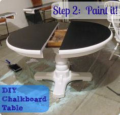 DIY kitchen painted chalkboard table---because the ILs actually have this table, so maybe one day we can have it