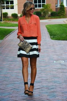 Peach and stripes. I've discovered my new style. White, stripes, bold colors :)
