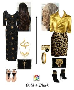 Gold + Black fashion sets by visual-image on Polyvore featuring Lanvin, Comme des Garçons, Pierre Balmain, Kate Spade and Madina Visconti di Modrone