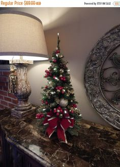 Topiary, Table top tree, Country French, Elegant Holiday Décor, Cordless Decor. Pre-lit Wreath, 20 LED light,   Simmering gold with red decor for