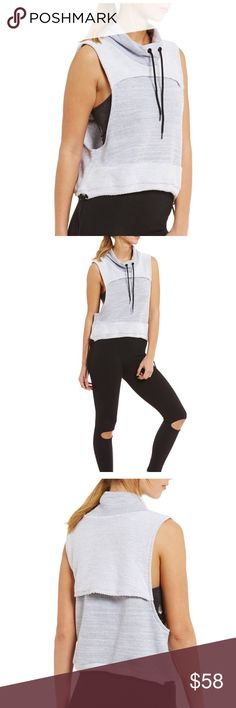 """NWT Free People Wrap It Up Funnel Neck Vest A sporty Free People top composed of plush french terry.  Overlay panels cover the mesh vents at front and back.  Drawstrings cinch the neckline and hem.  Exaggerated arm openings.  100% cotton.  Approx 19.5"""" length. Color: Grey. Free People Tops Tank Tops"""