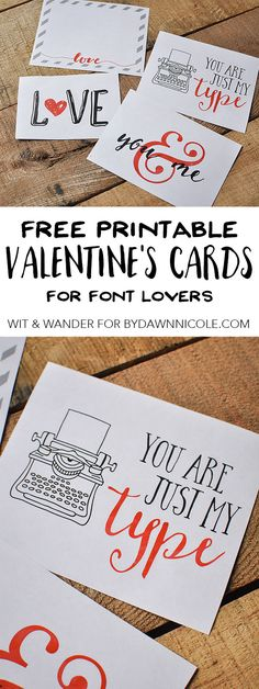 Free Printable Font Lovers Valentines | Megan Harney for By Dawn Nicole