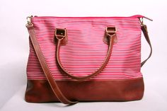 Red Stripe Leather Bag by marchandcraft on Etsy, $56.00