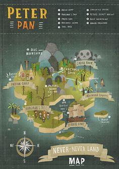 Print Design for Peter Pan - map of Never land