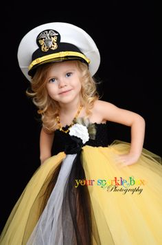 Too cute .....Black Gold White tutu dress Navy Officer by YourSparkleBox on Etsy,