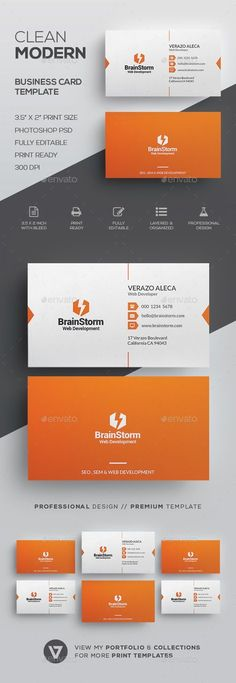 Clean Business Card Template - Corporate #Business #Cards Download here: https://graphicriver.net/item/clean-business-card-template/19934953?ref=alena994