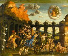 Andrea Mantegna, Pallas Athene /Minerva de voorvechtster van het goede, rent de tuin in om de ondeugden te verjagen uit de tuin der Deugd.
