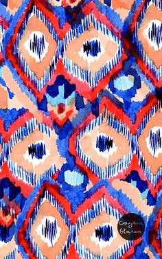 #pattern #textiles #ikat #abstract #watercolours #blue #red
