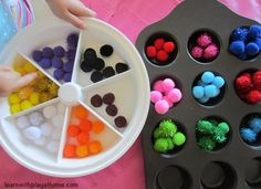 Learn with Play at home: Pom-pom Colour Sort & Count. Early Maths. See how we start this activity to promote problem solving.