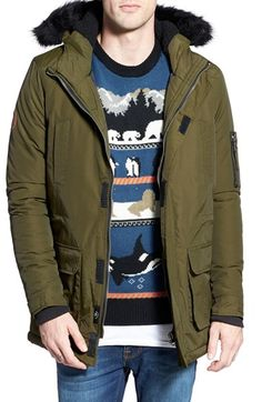 BellField Military Parka with Faux Fur Trim