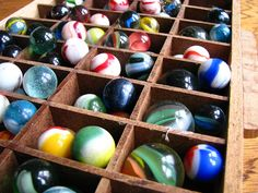 vintage marbles...love these. They remind me of the ones I treasure, given to me as a child, from my late uncle. 8/19