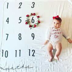 This should start your day out with a smile // Good Morning!! Isn't she such a doll on our monthly milestone blanket?! It's raining here in upper state New York, definitely doesn't feel like winter here!