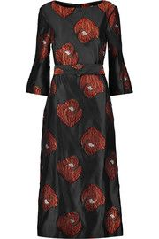 Suno Belted fil coupé gazar midi dress