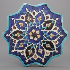 Star-shaped Timurid cuerda seca tile, Iran ca. Tile Art, Mosaic Art, Mosaic Tiles, Tile Patterns, Pattern Art, Art Indien, Islamic Tiles, Islamic Art Pattern, Architectural Sculpture