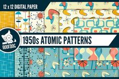 1950s Atomic patterns - 12 Atomic design themed digital papers. By Roofdog Designs $5 #affiliatelink