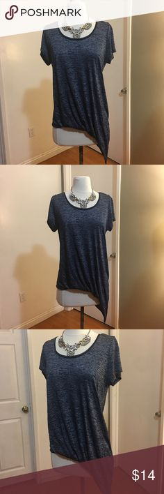 White House Black Market Asymmetrical Top Great used condition  No size tag but it's M  Length 23 inches shortest/ 33 inches largest Chest 38 inches   Please measure yourself before buying anything from my closet White House Black Market Tops