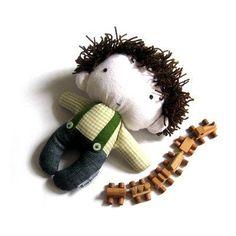 """Rag doll toy plushie baby boy kid handmade stuffed plushie softie white navy blue denim green checked cuddly soft child friendly 11"""" 27 cm. $39.00, via Etsy."""