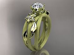 Ooooohhhh... crazy pretty! 14kt  yellow gold diamond floral,leaf and vine  wedding ring,engagement ring ADLR253