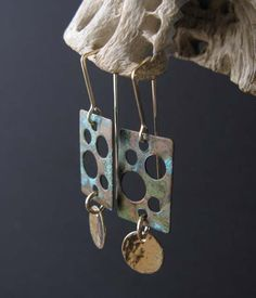 Holiday SALE Rustic earrings copper verdigris rectangle with holes and 14k gold fill metal. Organic mixed metal patina jewelry.  Rustic San