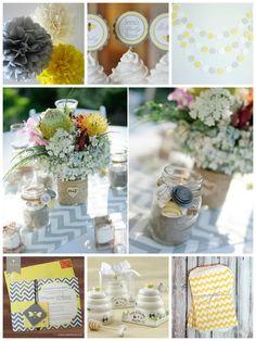yellow, gray & aqua baby shower theme | Bumble Bee Baby Shower Inspiration Board – Yellow & Gray