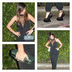 Your Outfit Today » Outfit : jumpsuit and spikes, April 22 2013.  Outfit : Black jumpsuit : Asos Heels : Aldo Green clutch : Andrea Molteni