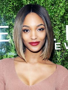 Jourdan Dunn makes wine-stained lips, sleek hair, and glowing skin look so good.