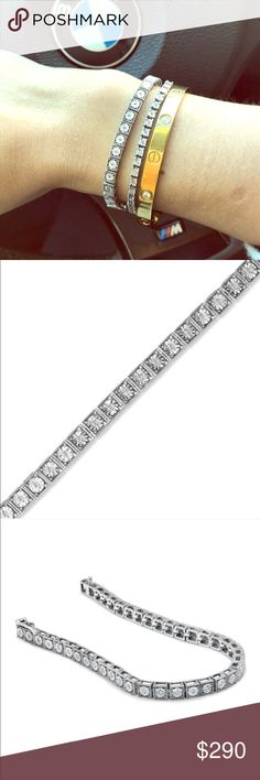 """1/4 carat diamond tennis bracelet Beautiful 1/4 carat diamond tennis bracket for small wrist. Sterling silver with real diamonds. Beautiful and eye catching. It comes with sales envelope box. Perfect for everyday wear, no stones missing. It fits a 6"""" small wrist. Great Valentine's Day gift 🎁 Zales Jewelry Bracelets"""