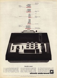 Olivetti Quanta Adding Machine Advert, 1969