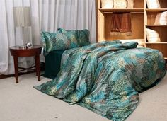 The Poenix Tail Lake Blue Silk Duvet Cover Set Silk Bedding King Size Bed Linen, Queen Size Bed Sets, King Size Comforter Sets, Blue Comforter, Fitted Bed Sheets, Cheap Bed Sheets, Cheap Bedding Sets, Cheap Bed Linen, Silk Bedding