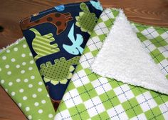 Three Baby Boy Burp Cloths With Green And Navy by LittleCottonShop, €15.00
