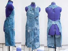 Jeans recycled in to an apron with step by step instructions made by Tutorial Girl