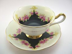 Rare 1920's Antique Royal Albert Tea Cup And Saucer, English tea cup set, Crown China, Yellow and black. on Etsy, Sold