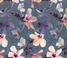 Butterflies and Hibiscus Flowers - a pai custom wallpaper by micklyn for sale on Spoonflower Flower Wallpaper, Pattern Wallpaper, Wallpaper Backgrounds, Iphone Wallpaper, Tropical Wallpaper, Print Wallpaper, Deco Floral, Motif Floral, Floral Prints