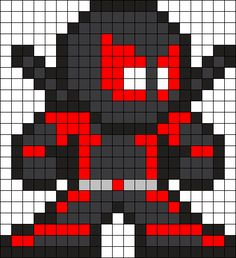 Inverse Deadpool Perler Bead Pattern / Bead Sprite