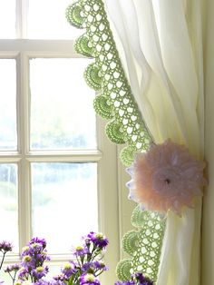 Oh how beautiful this is! :) Crocheted edge of a curtain.