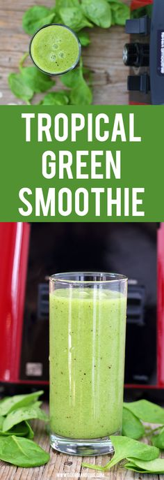 Even if you're not a big fan of green smoothies, you'll love this one! This tropical green smoothie is packed with vitamins, minerals and antioxidants and it's ready in less than 5 minutes!