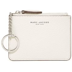 Marc Jacobs The Essential Zip Leather Coin Purse ($60) ❤ liked on Polyvore featuring bags, wallets, clutches, white birch, leather zip wallet, coin purse wallets, coin purse, leather change purse and key chain rings