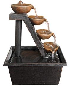 Alpine Four Tiered Step Tabletop Fountain | Water Fountains