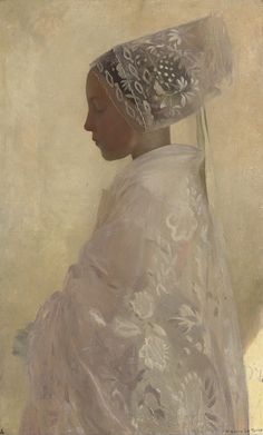 """A maiden in contemplation "" by Gaston La Touche (1854-1913, French)"